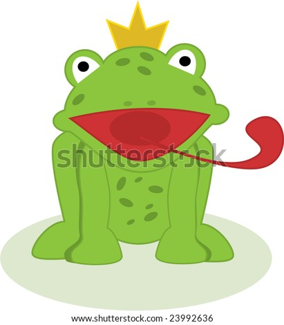 Illustration of frog prince with his tongue out - stock vector