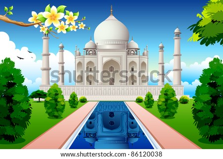 illustration of front view of taj mahal with lake and garden - stock vector