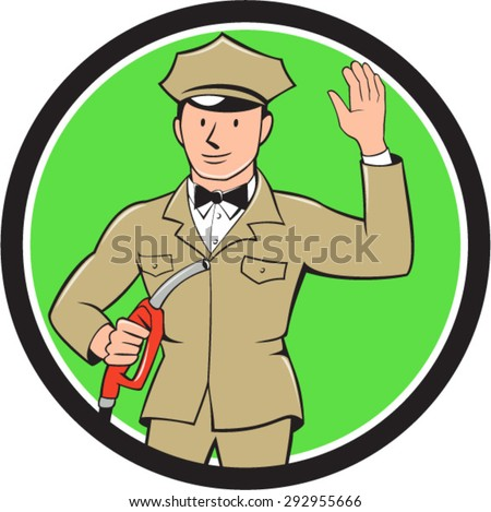 Illustration of fuel jockey gasoline attendant worker holding fuel pump nozzle waving hello viewed from the front  set inside circle on isolated background done in cartoon style. - stock vector