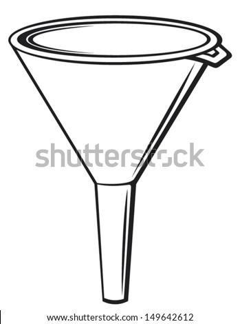 illustration of funnel (plastic funnel for domestic use, plastic funnel for transferring liquid) - stock vector