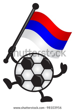 illustration of funny cartoon soccer ball character bring a flag - stock vector