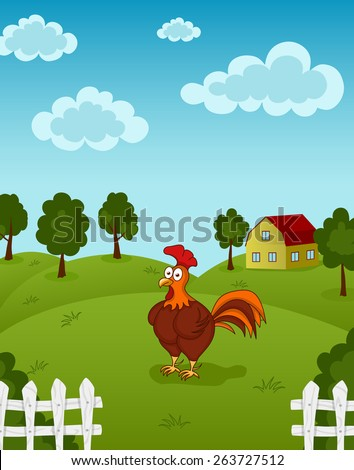 Illustration of funny chicken standing on the farm meadow - stock vector