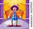 illustration of  funny clown juggling - stock vector