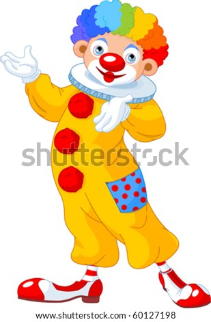 Illustration of funny clown presenting (showing) - stock vector