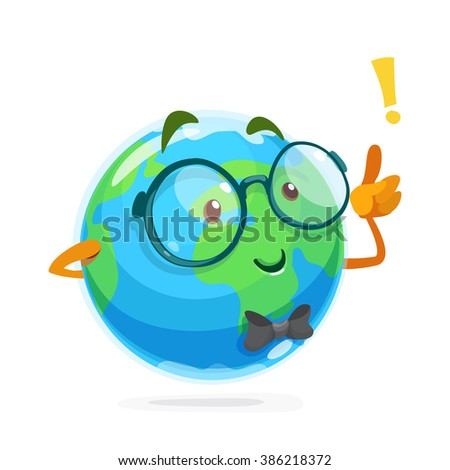 Illustration of funny mascot earth glasses - stock vector