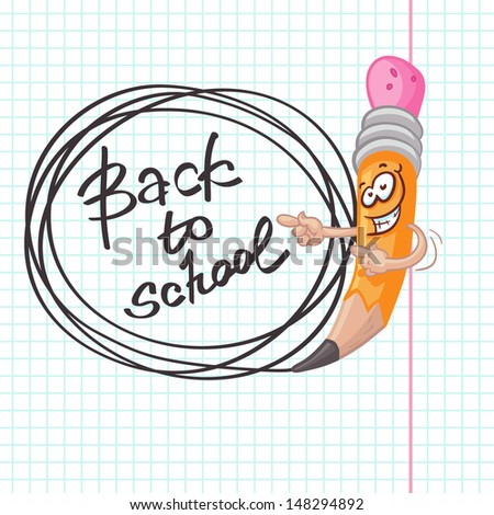 Illustration of funny pencil indicating the direction of look. Back to school lettering. Cute elements for your school and note designs, etc.  - stock vector
