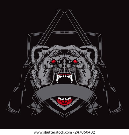 Illustration of fury bear head with weapons. Red eyes. - stock vector