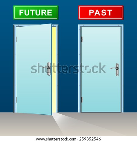 illustration of future and past doors concept