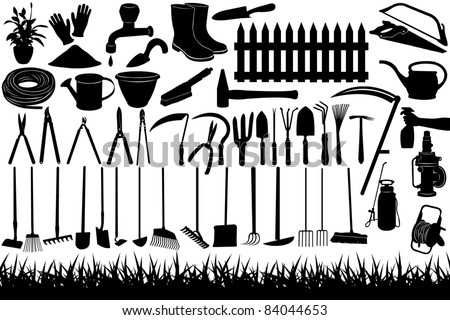Illustration of gardening tools and equipment - stock vector