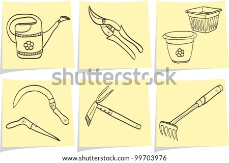 Illustration of gardening tools - doodle style - pot, watering can, dig, rake, scissor, shovel - stock vector