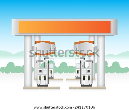 Illustration of gas station service with blue sky background. - stock vector