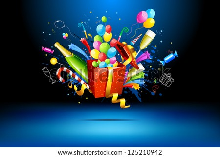 illustration of gift box with champagne bottle and balloons - stock vector