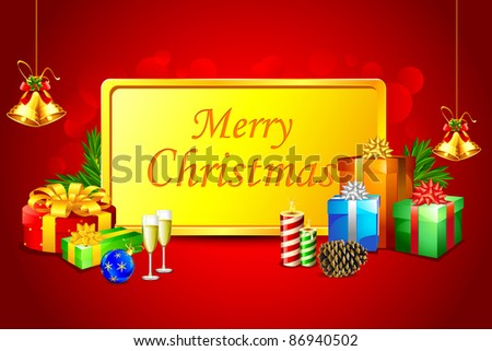 illustration of gift box with christmas decoration - stock vector
