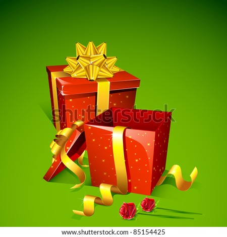 illustration of gift box with rose on abstract background - stock vector