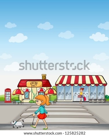 Illustration of girl walking on a road and a coffee house - stock vector