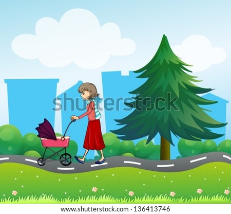 Illustration of girl with a baby stroller along the road - stock vector