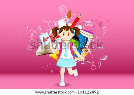 illustration of girl with grade sheet on education background - stock vector