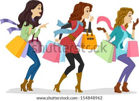 Illustration of Girls Carrying Shopping Bags Facing the Right Side of the Drawing - stock vector