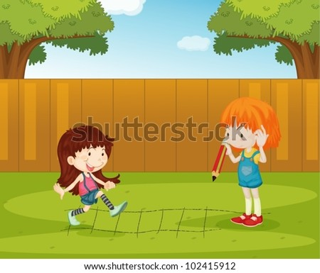 Illustration of girls playing in the backyard - stock vector