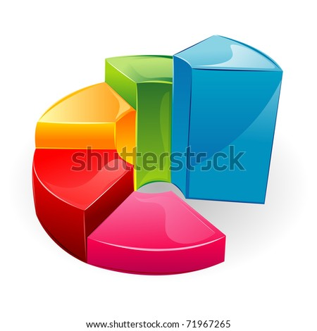 illustration of glossy bar graph on isolated background - stock vector