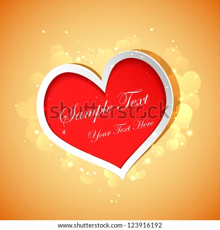illustration of glossy love background with heart - stock vector