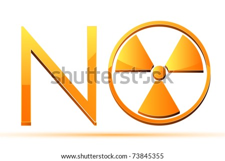 illustration of glossy no with nuclear sign on white background - stock vector