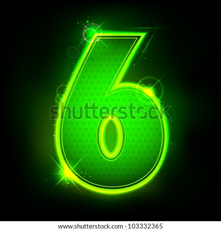illustration of glowing number six on abstract background