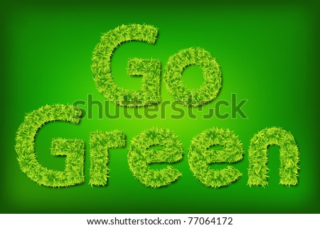 illustration of go green written with grass on abstract background - stock vector