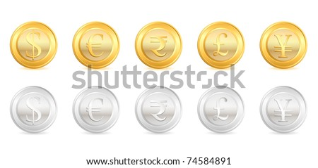 illustration of gold and silver coin of different currency - stock vector