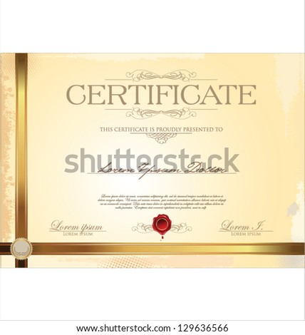 Illustration of gold certificate - stock vector
