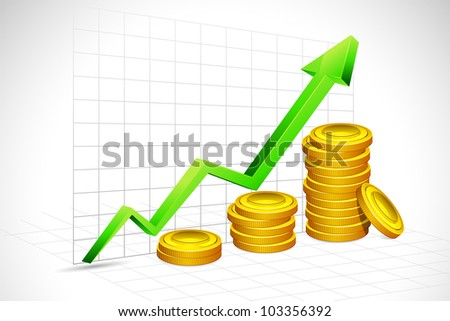 illustration of gold coin bar with graph and arrow on backdrop - stock vector