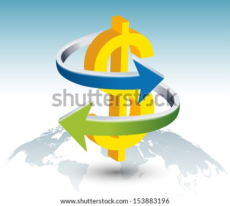 Illustration of gold dollar sign with arrow on globe - stock vector