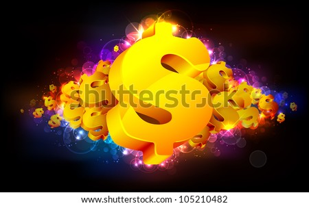 illustration of gold dollar symbol on abstract background - stock vector