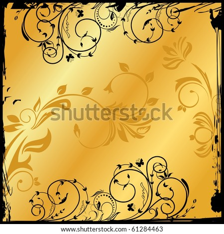 Illustration of gold floral square. Vector - stock vector