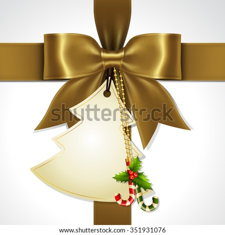 Illustration of gold ribbon bow vector with Christmas tag card - stock vector