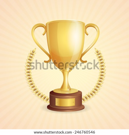 Illustration of gold shiny cup on white background