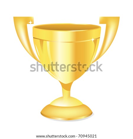 illustration of gold trophy kept on isolated white background - stock vector