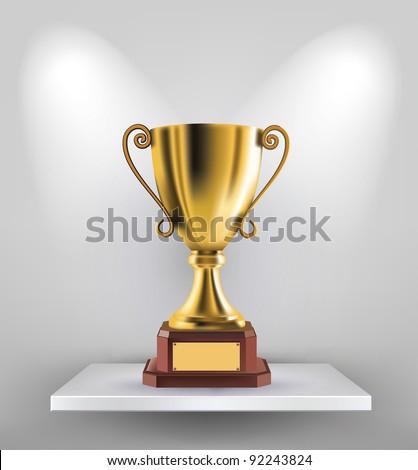 illustration of gold trophy kept on shelf - stock vector