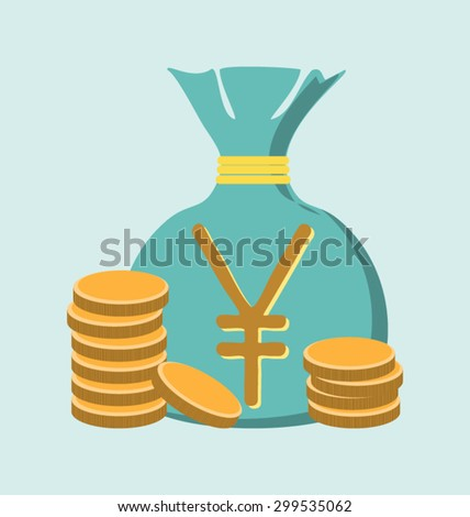 Illustration of gold yen coin with bag of money - stock vector
