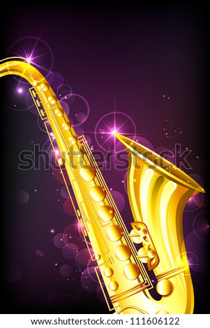 illustration of golden saxophone on abstract musical background - stock vector