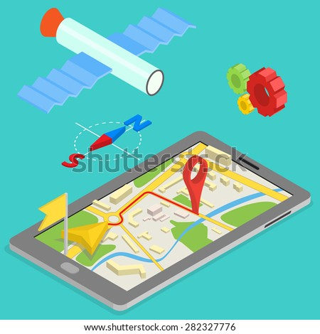 Illustration of GPS in mobile phone showing route map - isometric illustration - stock vector