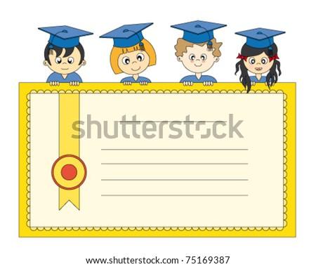 Illustration of Graduates. Diploma students - stock vector