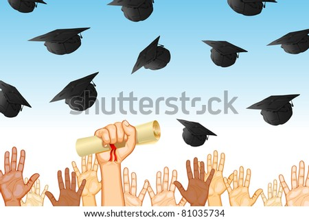 illustration of graduates tossing mortar board in air