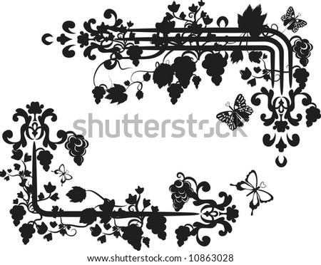 Illustration of grapes and ivy with butterflies in a border design element. - stock vector