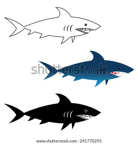 Illustration of great white shark, wild sea animal - stock vector
