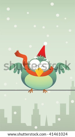 Illustration of Green bird with santa hat - stock vector