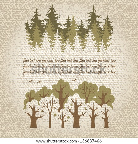 Illustration of green coniferous and deciduous  forest with a place for your text. Vector Illustration. - stock vector