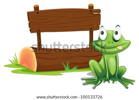 Illustration of green frog with sign