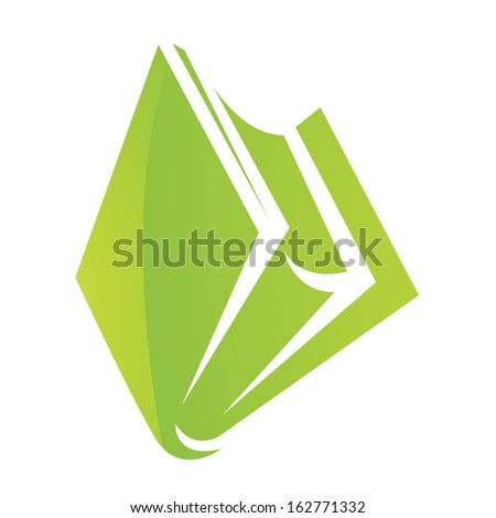 Illustration of Green Glossy Book Icon isolated on a white background - stock vector