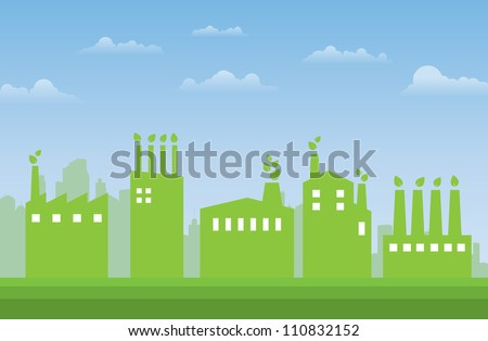 Illustration of green industries and factories in the city. - stock vector